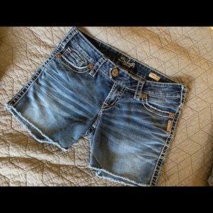 Self Cut Off Destroyed Denim Shorts